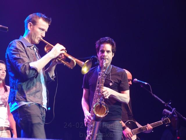 Pat playing the saxophone