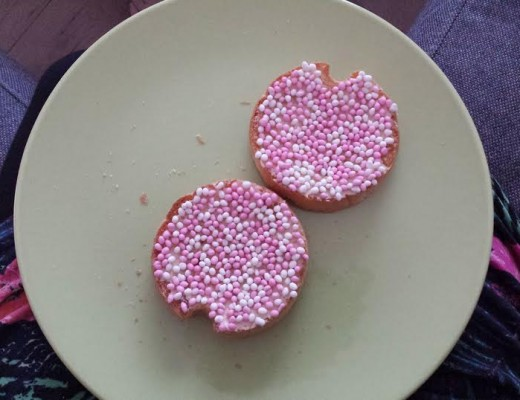 My daily snack, Dutch Rusks with pink & white sprinkles (a typical food you eat to celebrate the birth of a baby girl here in Holland)