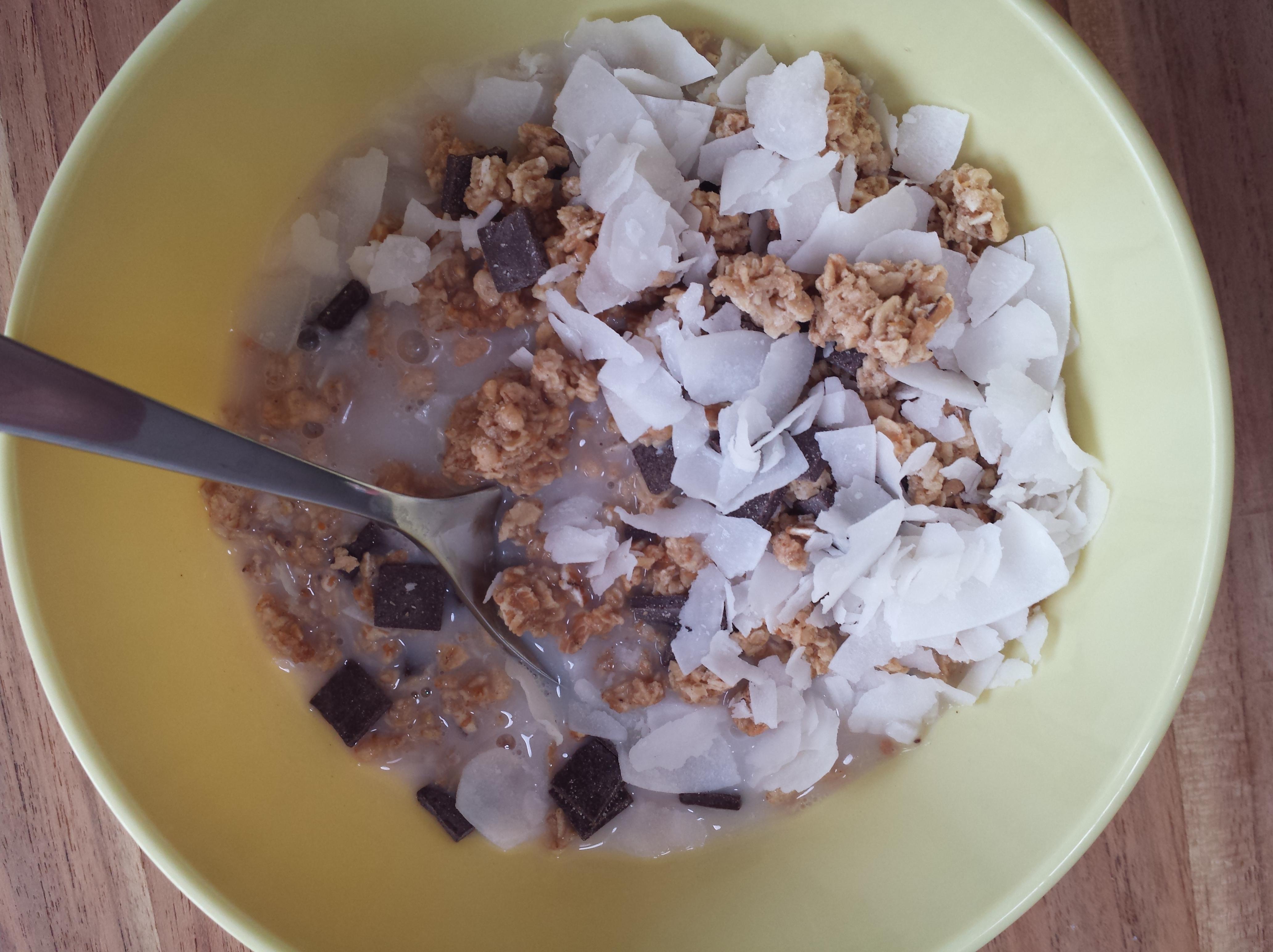 Yummy breakfast... coconut milk, coconut, chocolate & grains...yummy!