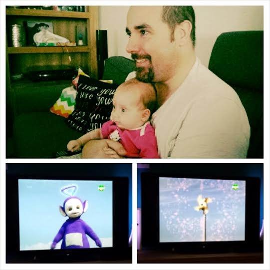 Watching the teletubbies with daddy, sooo cute!