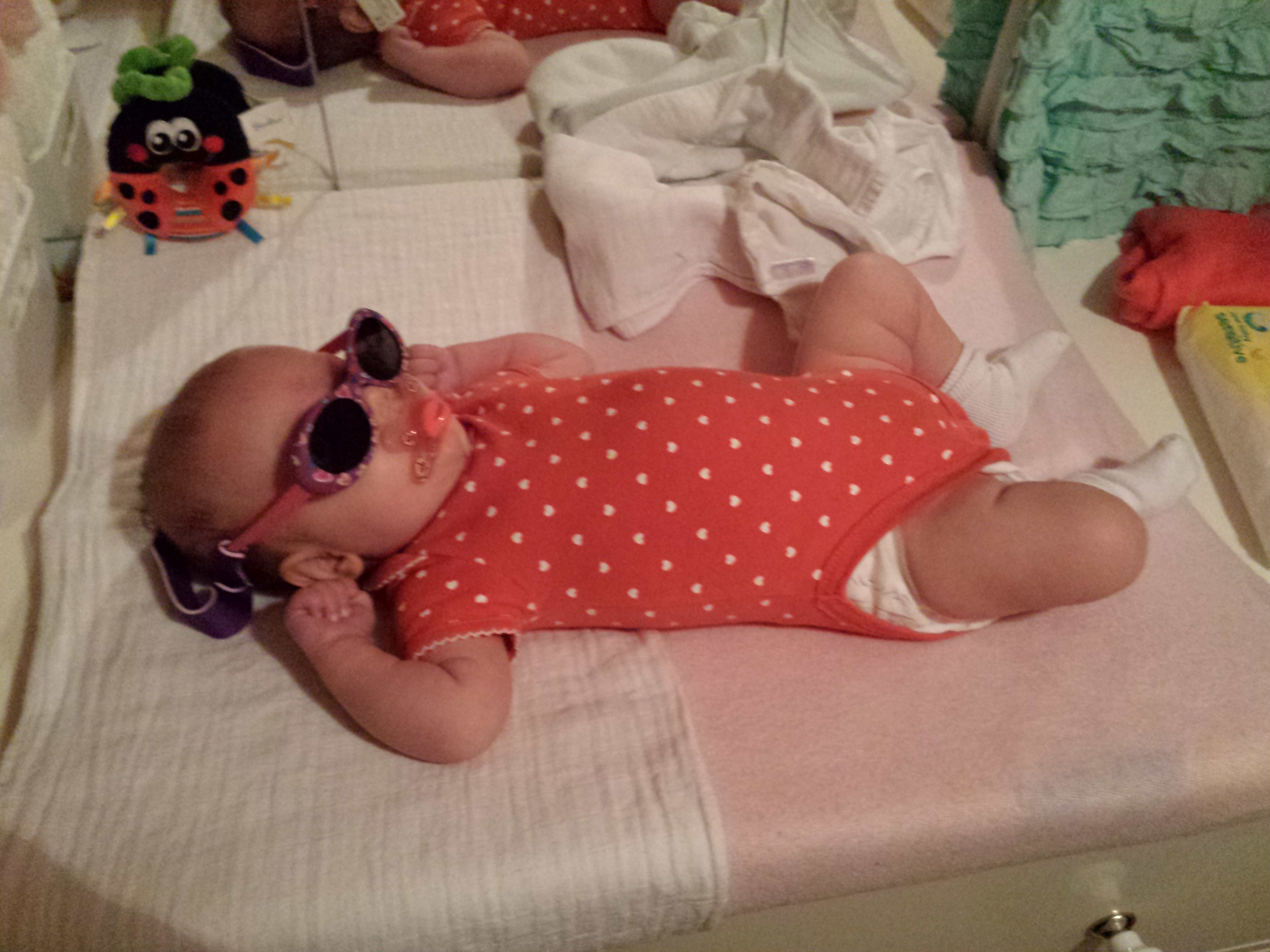 My mum gave Lola her first sunglasses, now she already acts like a dive...lol