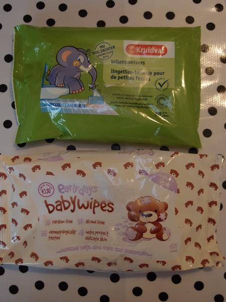 Billenpoetsers (Kruidvat) & Babywipes (Primark)