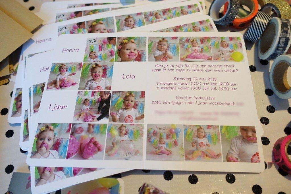 Lola 1 jaar cakesmash fotoshoot - uitnodiging verjaardag