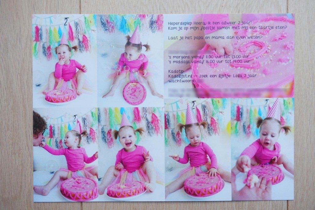 Lola 2 jaar cakesmash fotoshoot - uitnodiging verjaardag