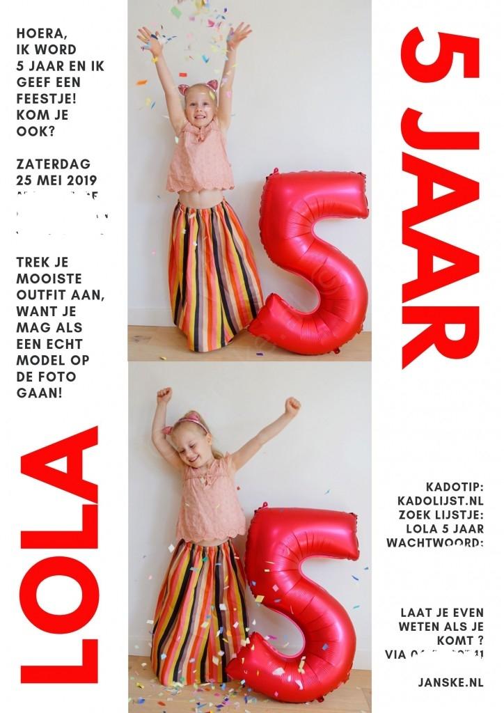 uitnodiging feestje Lola 5 jaar